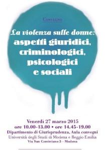 CONVEGNO Violenza donne aspetti giuridici criminologici psicologici e sociali 27-03-2015